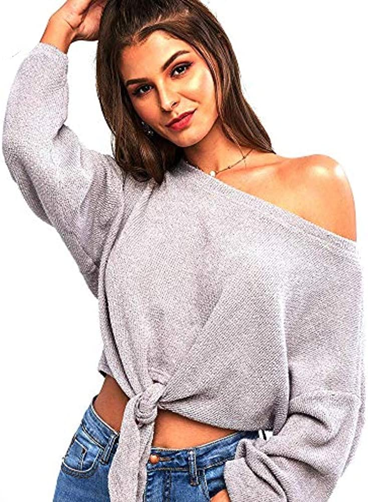 ZAFUL Women's One Shoulder Sweater Knit Oversized Long Sleeves Pullover