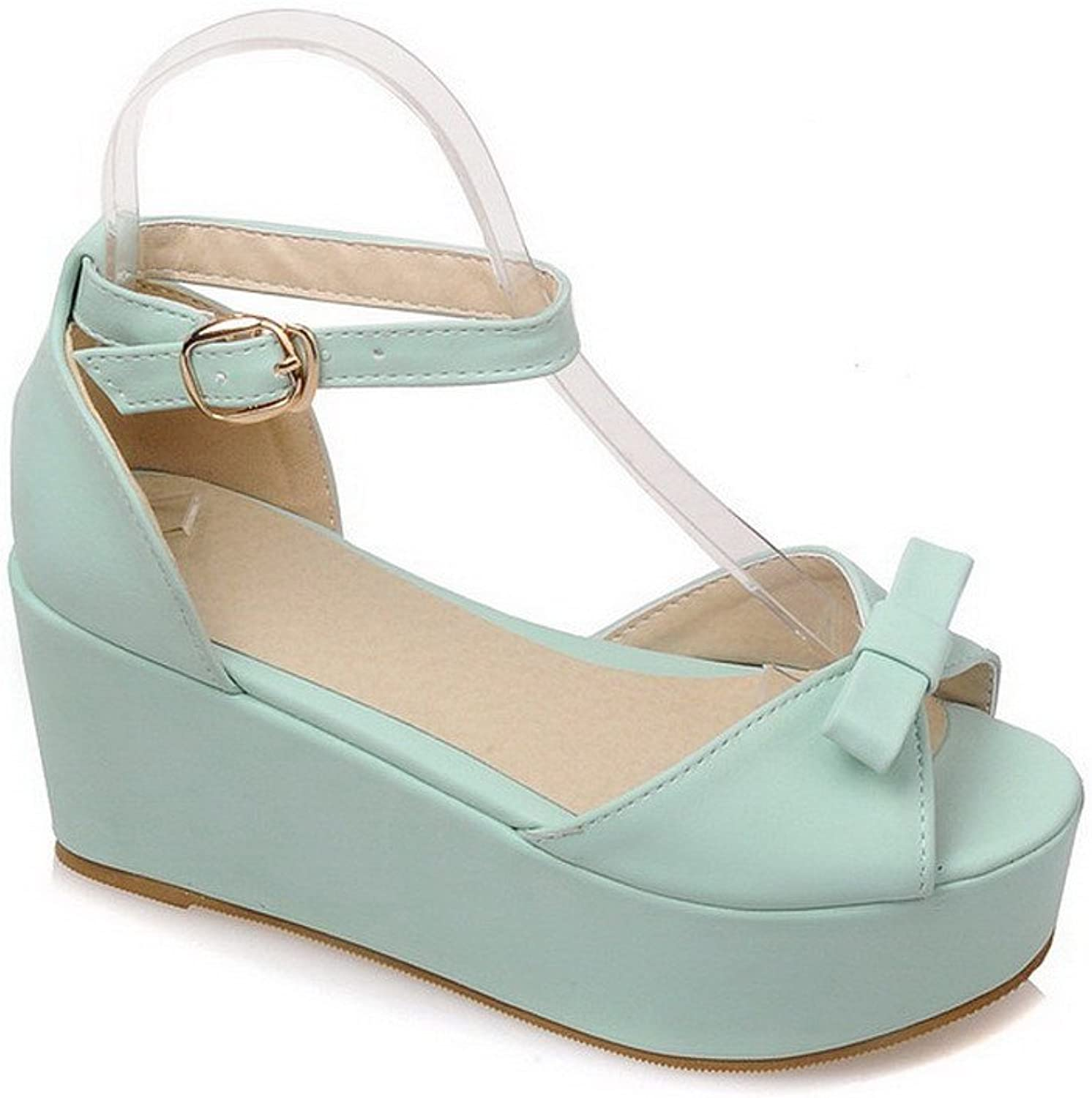WeenFashion Women's Open Toe High-Heels Soft Material Solid Buckle Platforms & Wedges