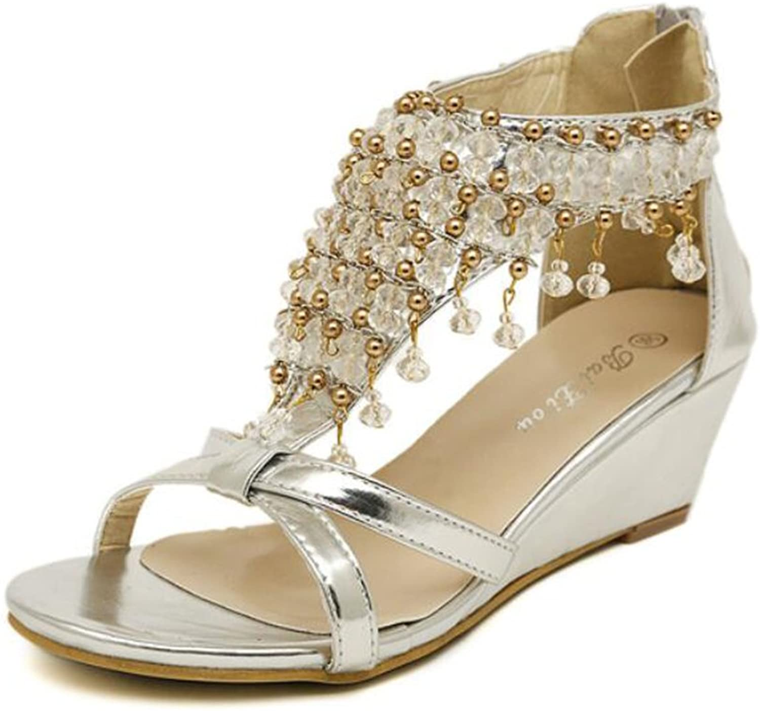 Women's shoes Leatherette Summer Platform Wedge Heel Crystal For Casual Silver gold Sandals