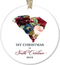 2019 Ceramic Christmas Tree Ornament Collectible 1st First Holiday Season Living SOUTH CAROLINA Friends Family Relative Pretty Floral Keepsake Present 3