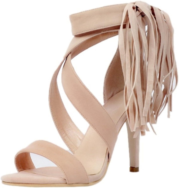 Women's shoes PU(Polyurethane) Summer Ankle Strap Sandals Tassel Stiletto Heel Open Toe Rhinestone Party & Evening Sandals