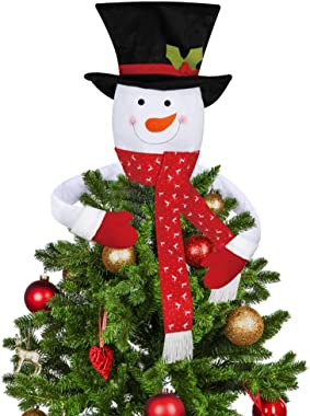 D-FantiX Snowman Christmas Tree Topper, Large Top Hat Scarf Snowman Tree Topper Hugger Outdoor Indoor Christmas Decorations X