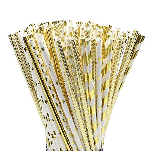 Cannuccia di Carta,100 pezzi Biodegradabile Carta Paglia con Stella a Strisce Dot Wave per la Decorazione di Compleanno,Matrimonio,Baby Shower,Celebrazione e Riunione