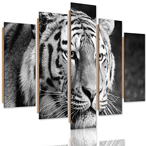 Feeby Frames Panneaux Deco Tigre Photo 5 pièces Noir et Blanc 150x100 cm