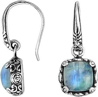 Bali Designs Sterling Silver Cushion Shape Earring with Rainbow Moonstone AE-6227-RM