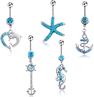 HoBST Holiday Stainless Steel Sexy Dangle Belly Button Rings for Men Women Girls Body Piercing Jewelry Set