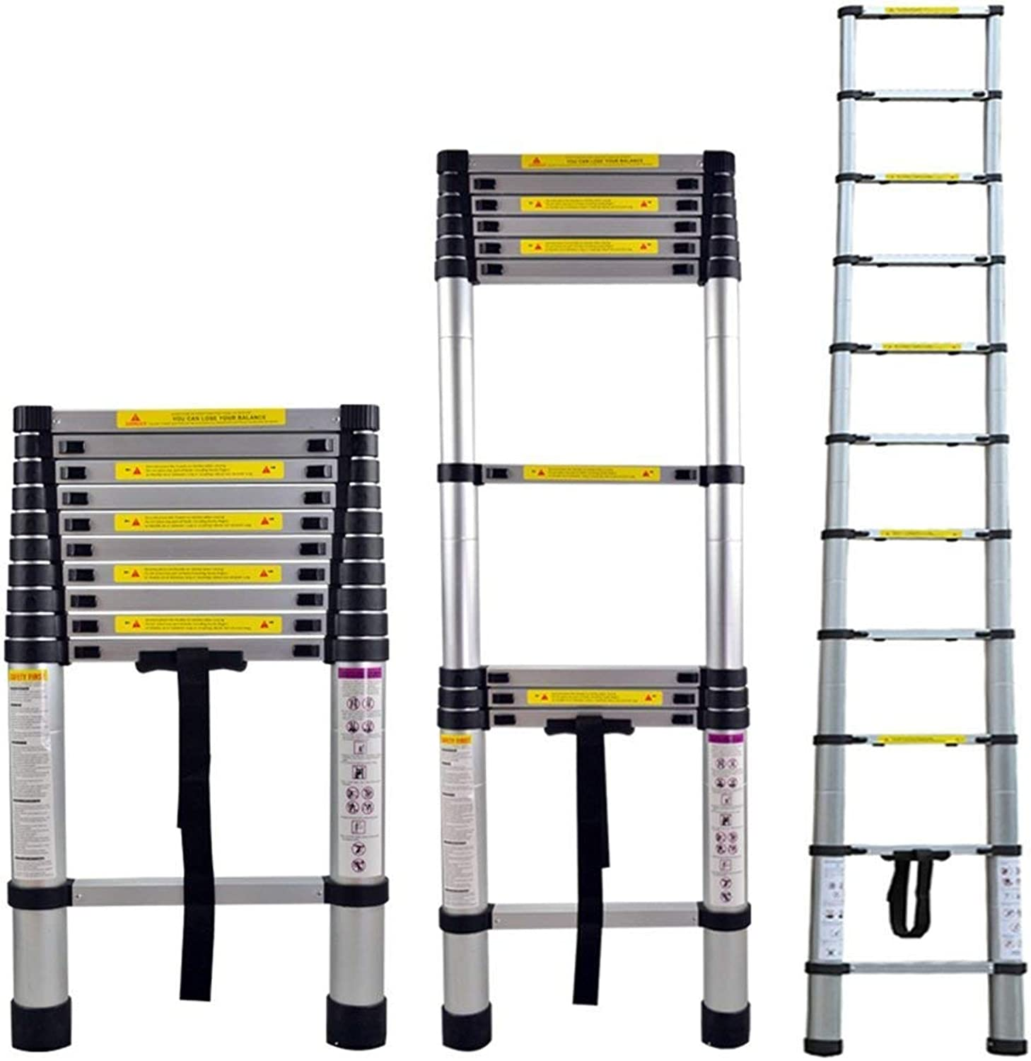 Aluminum Telescopic Ladder Foldable 3.2m Multifunction Ladder Aluminum Ladder Folding Ladder 150 kg Load Capacity (3.2m)
