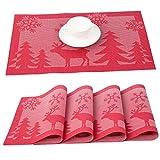 YQing 4 Piezas Manteles Individuales Lavables, Manteles Individuales Navideños PVC Antideslizantes Resistente Manteles Individuales de Mesa Navideños para la Mesa de Comedor de Cocina,Rojo
