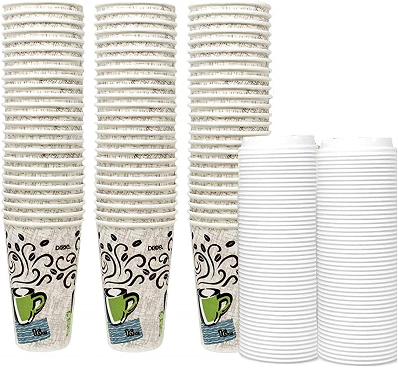 Dixie Perfectouch Insulated Paper Hot Cup Coffee Haze Design 16 Oz 75 Cups Plus 50 White Lids