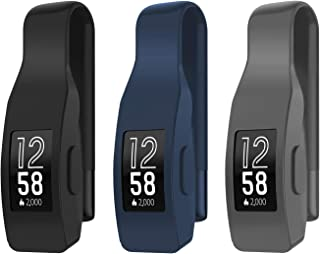 EEweca 3-Pack Clip for Fitbit Inspire or Inspire HR Holder Accessory, Black + Midnight Blue + Gray