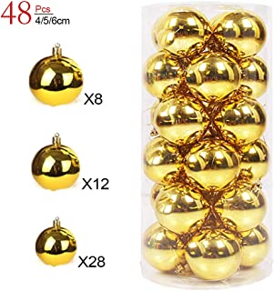 XinXu 48 Pack Christmas Ball Ornaments, 4/5/6cm Small Shatterproof Tree Gold Balls Christmas Decorations Personalized Xmas Hanging Decoration for Festival Party Wedding (1.6/1.97/2.4