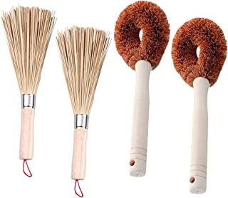 Counius 4Pcs Wok Brosse Bambou Long Poignée Brosse À Vaisselle Manche en Bois Outil de Nettoyage pour Ménage,Accessoires C...