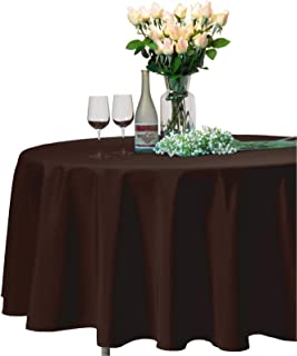 VEEYOO Round Tablecloth 100% Polyester Circular Bridal Shower Table Cloth – Solid Soft Dinner Table Cover for Wedding Party Restaurant (Chocolate, 120 inch)