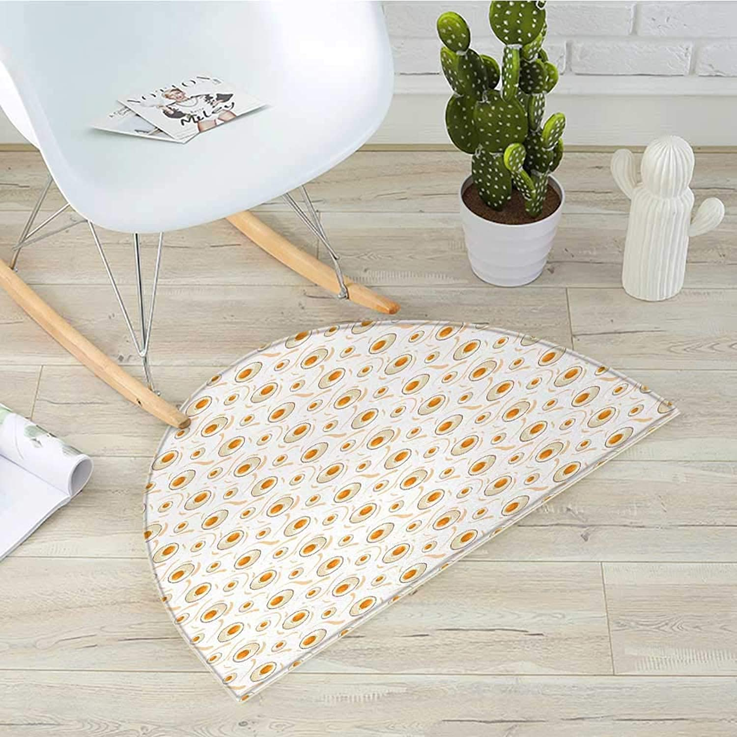 Egg Half Round Door mats Breakfast Food Pattern with Fried Eggs Healthy Predein Omelets Morning Meal Bathroom Mat H 31.5  xD 47.2  Marigold Peach Cream