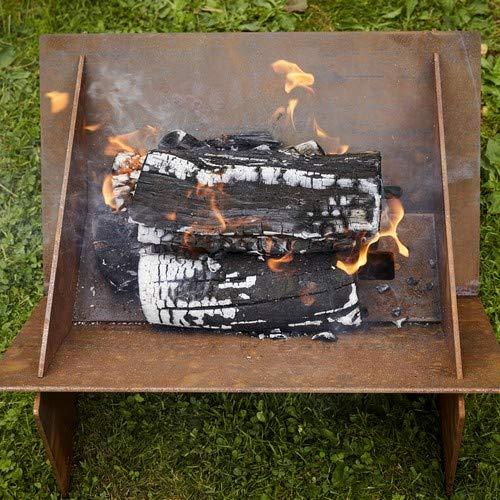 Round Wood Minima Flat Pack Corten Steel Fire Pit- Fire Bowl - Outdoor Heating - Log Burner