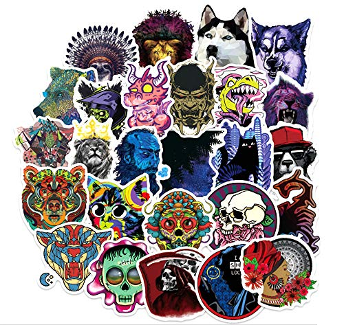 Skull Dog Colourful Stickers for Laptop,100 Packs Stickers for Water Bottles Phone Computer Guitar Skateboard Funny Vinyl Waterproof Aesthetic Trendy Stickers for Kids Teens