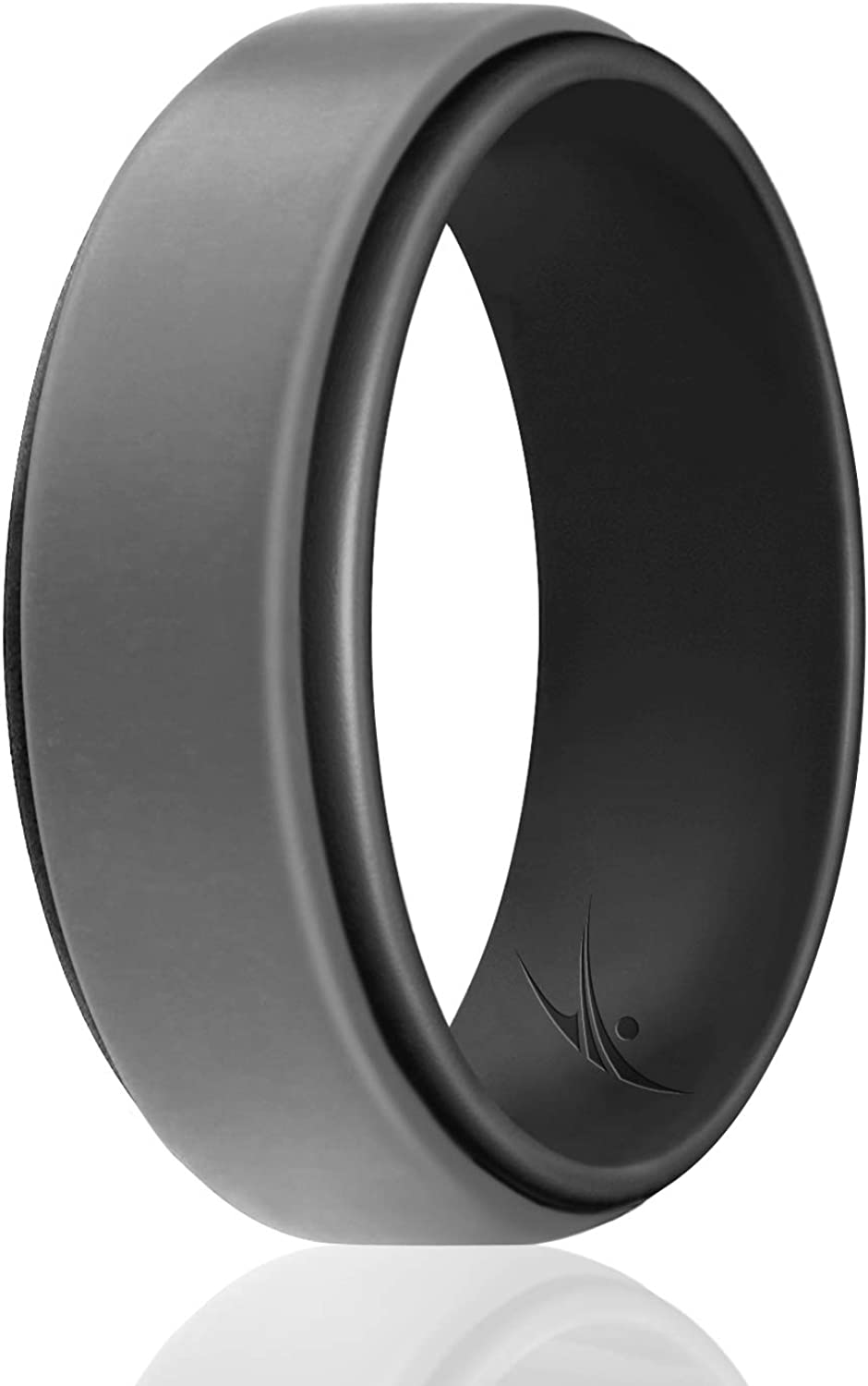 ROQ Silicone Wedding Ring for Men Duo Collection Step Style 6//4//3 Packs /& Single Ring Silicone Rubber Wedding Bands