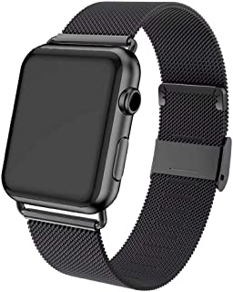 ADWLOF Compatible for Apple Watch Band 42mm 44mm,Stainless Steel Mesh Sport Wristband Loop with Strong Magnetic Closure Strap for iWatch Series 1,2,3,4,5,Dark Black