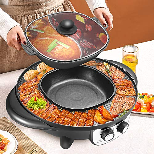 ETE ETMATE 2200W Portable Electric Smokeless Grill and Hot Pot 2 in 1 for Indoor Outdoor...