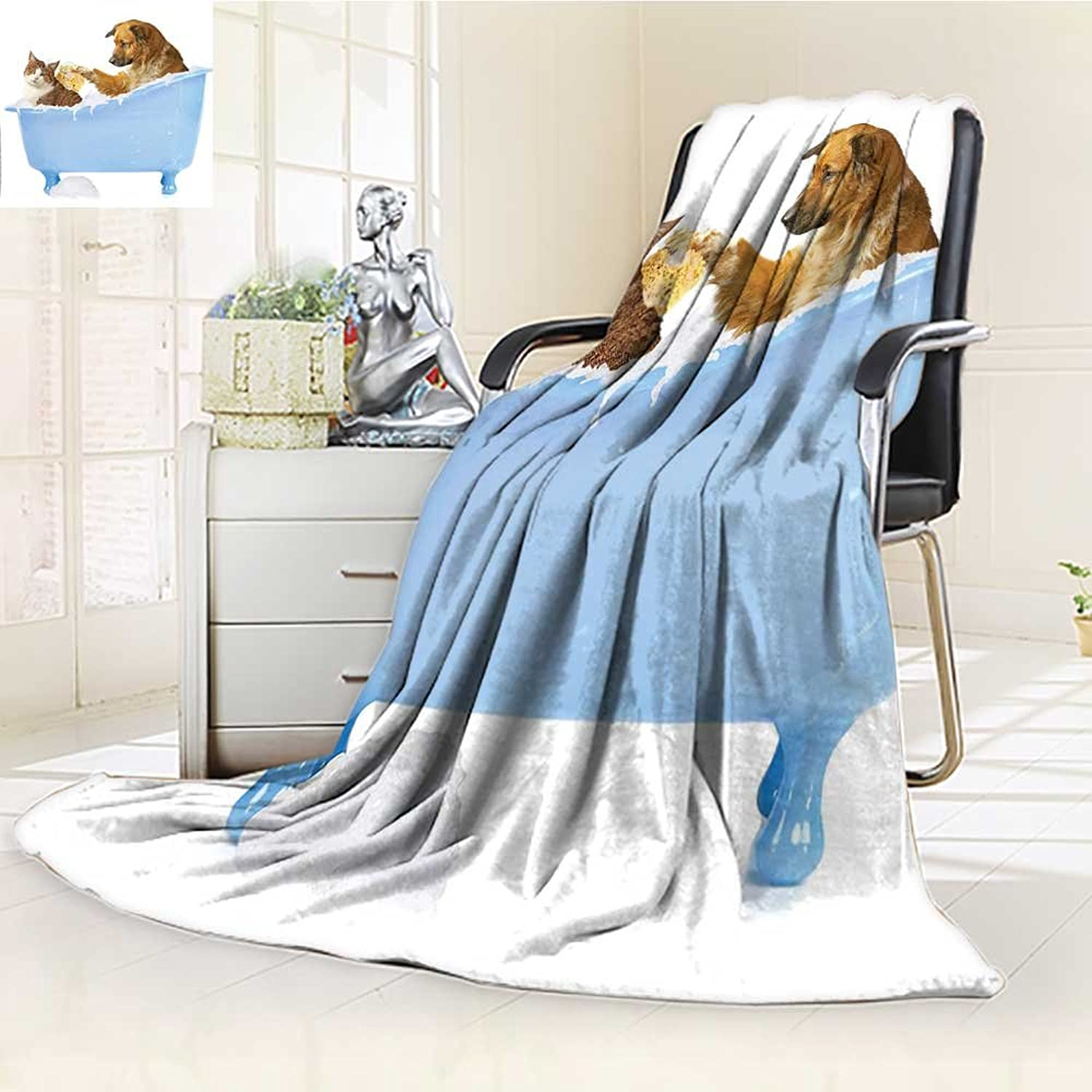 YOYI-HOME Original Luxury Duplex Printed Blanket, Hypoallergenic,and Kitty in The Bathtub Together with Bubbles Shampooing Having Shower Fun Artsy Print Multi Perfect for Couch or Bed W59 x H39.5