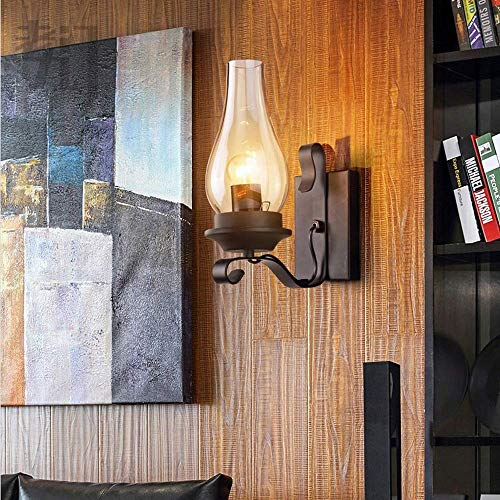 Wandlantaarn, wandlamp van kristalglas, spiegellamp, voorlicht, loft, retro, kerosin, lantaarn, wandverlichting, retro, industriële, E27