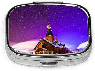 Purple Fantasy Castle Custom Fashion Rectangle Pill Box Compact 2 Space Tablet Holder Pocket Purse Organizer Case Decoration Box