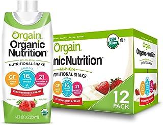 Orgain Organic Nutritional Shake, Strawberries & Cream - Meal Replacement, 16g Protein, 21 Vitamins & Minerals, Gluten Fre...