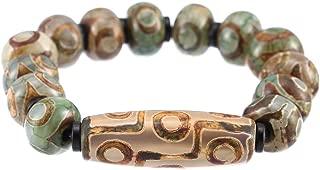 Prime Feng Shui Protective Dzi Bracelet with Green 3 Eyes and 9 Eyes Dzi Tibetan Bead Bangle Attract Positive Energy and Good Luck
