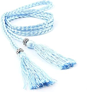 JJXSHLFL Summer New Version of The Waist Rope Ms. Pure Hand-Woven Ethnic Wind Thin Rope Dress Knotted Decorative Waist Chain Female (Color : Sky Blue)