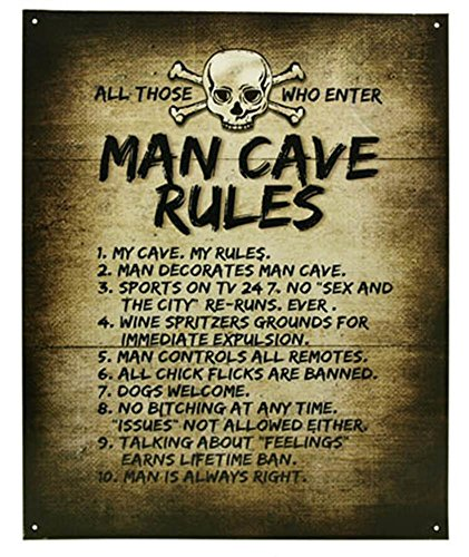 Man Cave Rules Top 10 Gameroom Bar Pub Novelty Tin Sign (Standard Version)