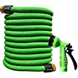 Junredy 50ft Garden Hose Expandable Water Hose - Durable 3750D Fabric | 3/4' Metal Connectors with Protectors | Strong Triple Latex Core | 7 Ways Water Spray Nozzle, Easy Storage Flexible Hose