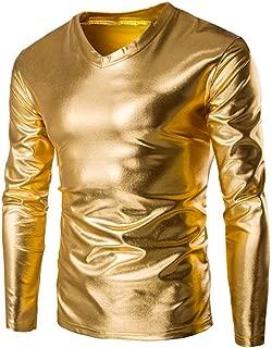 Zulmaliu Long Sleeve Tee Shirt, Mens Metallic Shiny Wet Look Long Sleeve T-Shirt Top Slim Fit V Neck Blouse