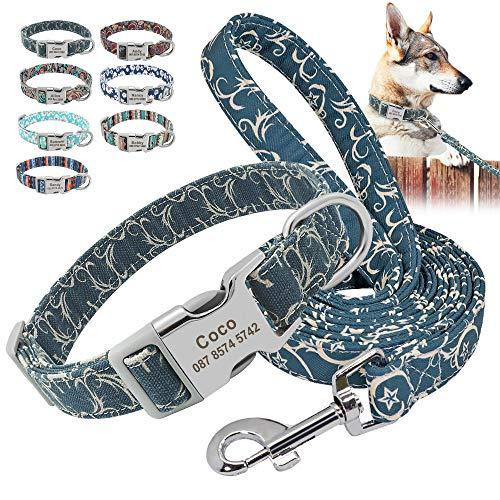 Beirui Juego de collar y correa de nailon personalizados, collares de estilo étnico suaves para perros pequeños, medianos y grandes con hebilla ligera, M, fuego helado