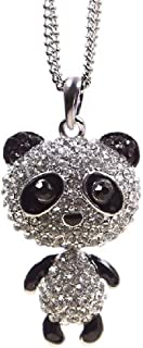 Hot Fashional Sweet Cute Little CRYSTAL Panda Pendant Sweater Chain Necklace