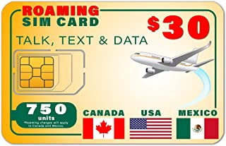 USA Canada Mexico GSM SIM Card - Rollover 750 Minutes Talk Text Data 180-Day Wireless Service
