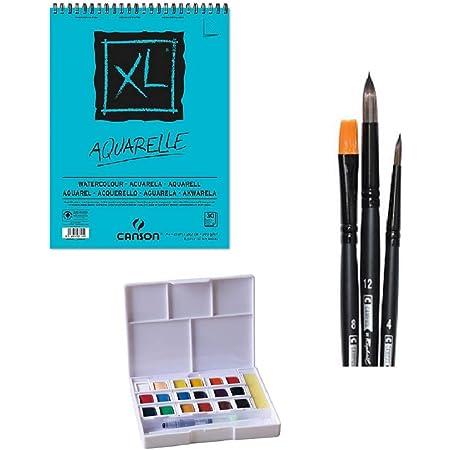 Craftelier Kit Bloc de Dibujo Canson Aquarelle A4 XL - Pinceles Campus 3 piezas - Estuche Acuarelas 18 colores Superior