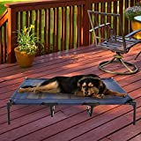 "Elevated Pet Bed-Portable Raised Cot-Style Bed W/ Non-Slip Feet, 48""x 35.5""x 9"" for Dogs, Cats, and Small Pets-Indoor/Outdoor Use by Petmaker (Blue)"