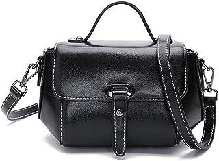 Fashion Women's Retro Handbag Magnetic Buckle Solid Color Leather Messenger Bag Shoulder Bag Cowhide Crossbody Bag (Color : Black)