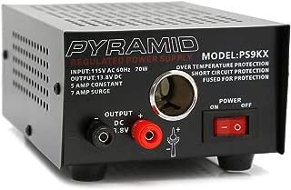 Pyramid PS9KX Universal Compact Bench Power Supply-5 Amp Linear Regulated Home Lab Benchtop Converter w/ 13.8 Volt DC 115V AC 70 Watt Input, Screw Type Terminal, 12V Car Cigarette Lighter