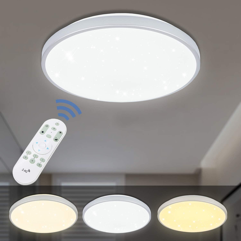 VINGO 60W LED Deckenleuchte stufenlos dimmbar Sternenhimmel Wohnzimmerlampe Badleuchte Küchenleuchte Innenleuchte Wandleuchte Wohnzimmer Badezimmer Schlafzimmer Schlafzimmerleuchte Energiespar