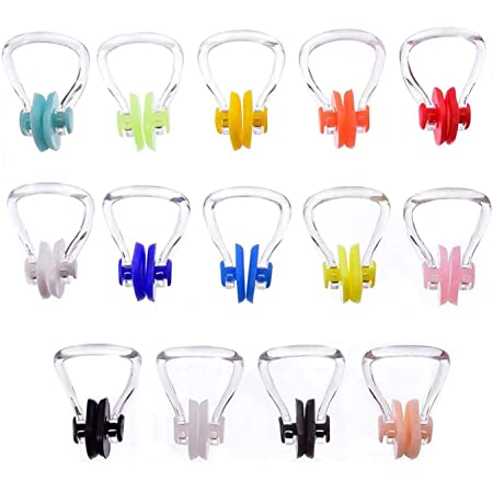 12 Pack BRBD Waterproof Silicone Swimming Nose Clip Plugs for Adults Children Age 7+