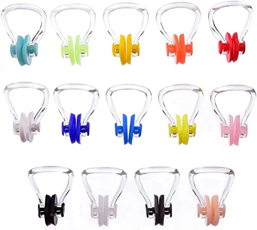 Hurdilen Swimming Nose Clip, Swim Nose Clip with Waterproof Silica Gel for Kids (Age 7+) and Adults,14 Packs,Multi-Color