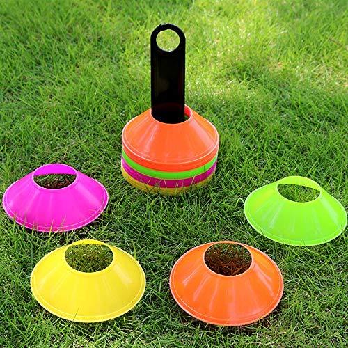 Dyna-Living 50PCS Markierungshütchen Fußball Training Hütchen Set Markierungsteller mit Halter Tasche