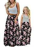 Astellarie Mother and Daughter Matching Clothes,Floral Printed Family Beach Maxi Dress with Pockets for Easter Mother's Day Black