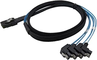 CABLEDECONN H0202 1M Mini SAS 36P SFF-8087 to 4 SATA 7Pin 90 Degrees Target Hard Disk Data Cable, Blue