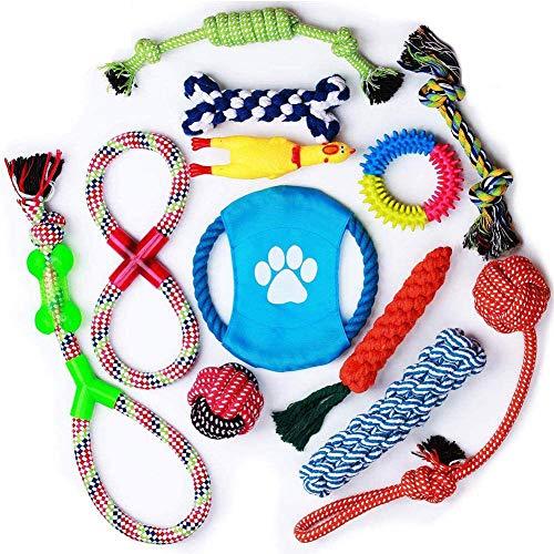 12 Piezas Juguetes de Cuerda para Cachorros,Juego de Juguetes para Perros,Cuerda De Juguete para Perro, Algodón Cuerda Juguete para Cachorros para Limpiar los Dientes Adecuado para Pequeño y Mediano
