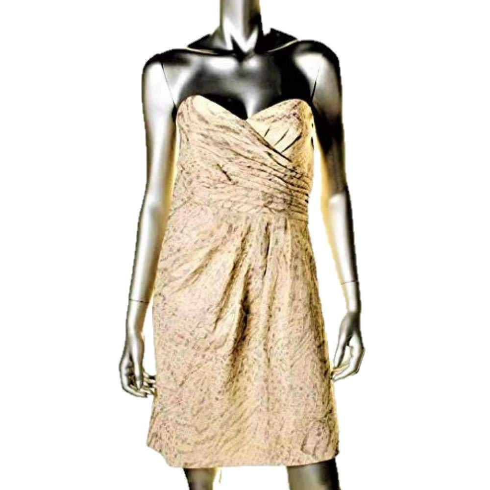 Available at Amazon: Laundry by Shelli Segal Women's Strapless Pintuck $285 Gold & Silver Metallic Strapless Dress 8 New with Tags