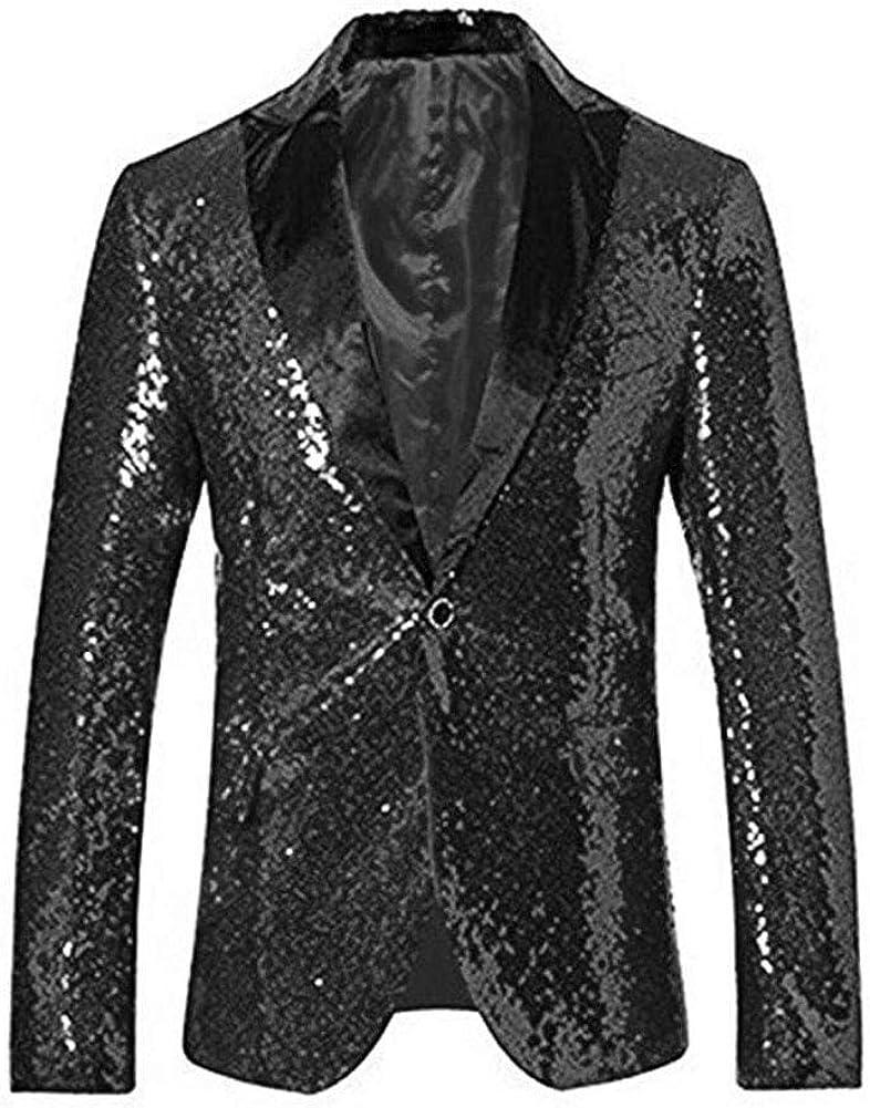 Men's Black Sequined Nightclub Tuxedo One Button Blazer Jacket Wedding Coat Black 48 Chest / 42 Waist