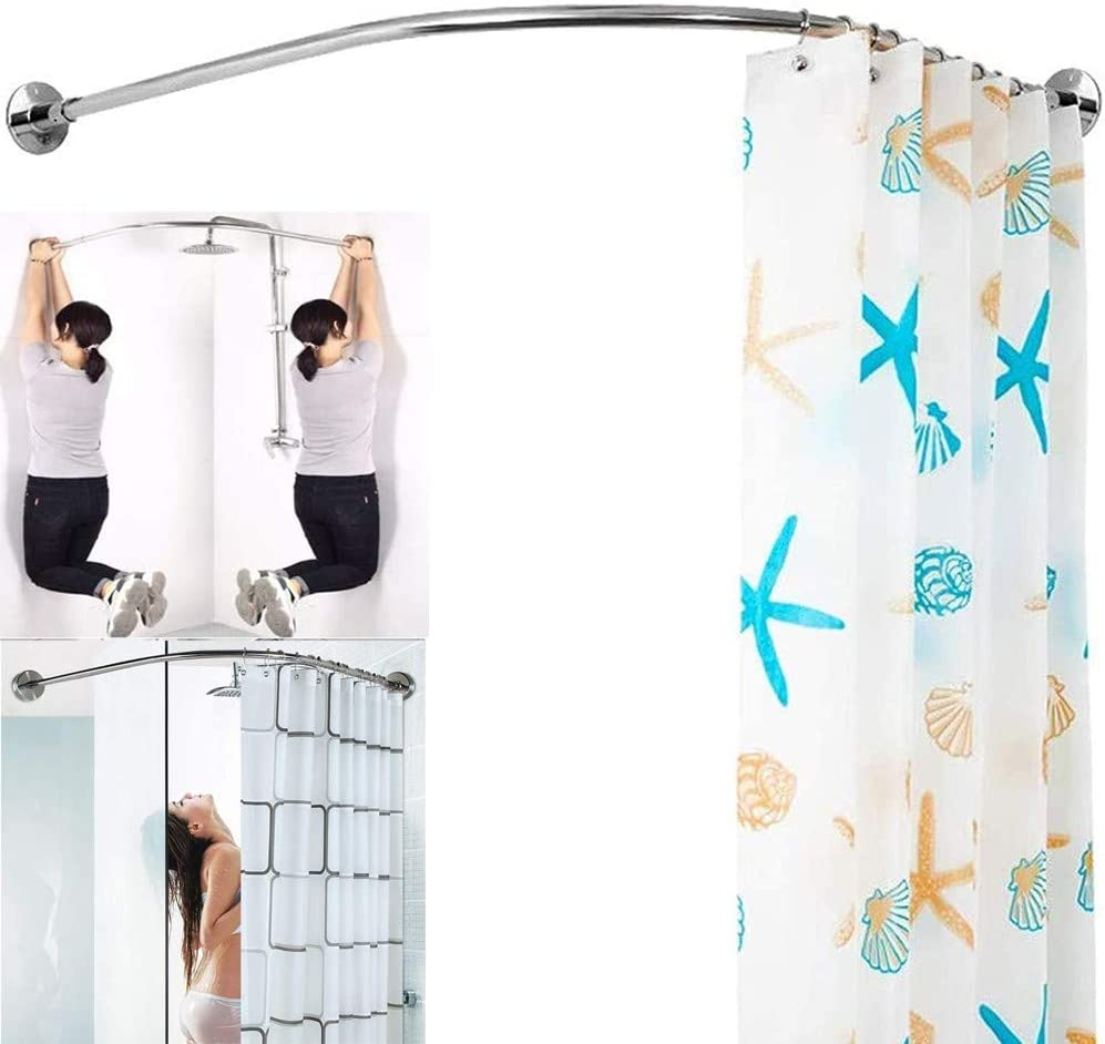 BAIYAN Upgraded Version Shower Curtain Max 62% OFF Rod Free Free shipping on posting reviews Drill L I Shaped