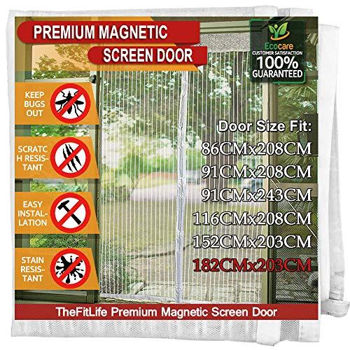 TheFitLife Cortina Mosquitera magnética para Puertas - Malla con cierre de gancho y bucle e imanes potentes que cierran instantáneamente, dejando todos los instectos fuera. (188x206cm, Blanco)